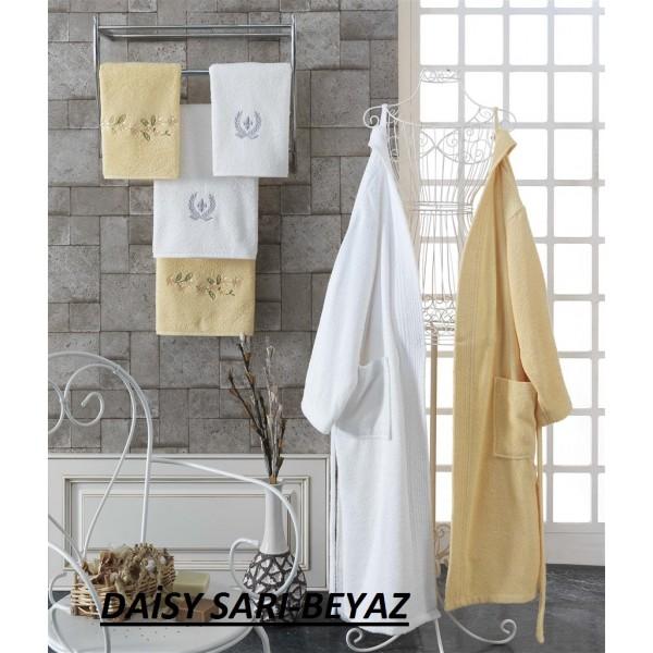Taç Kristal Basic Bornoz Seti Daisy Sarı-Beyaz