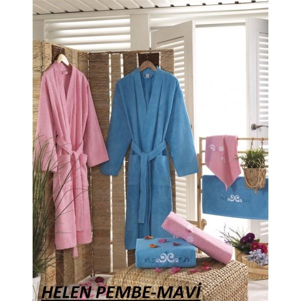 Taç Kristal Basic Bornoz Seti Helen Pembe-Mavi