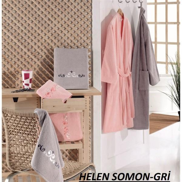 Taç Kristal Basic Bornoz Seti Helen Somon-Gri