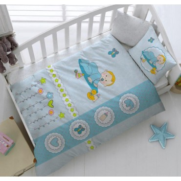 Kristal Bebek Nevresim Takımı Happy Baby Mavi