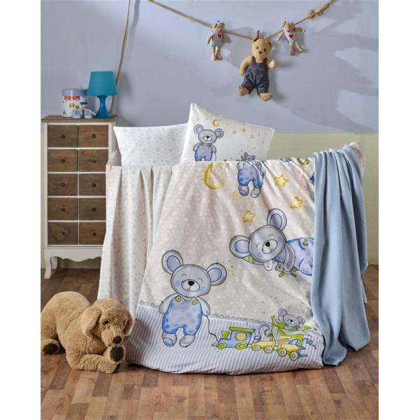 Kristal Bebek Nevresim Takımı - Tedy Mavi