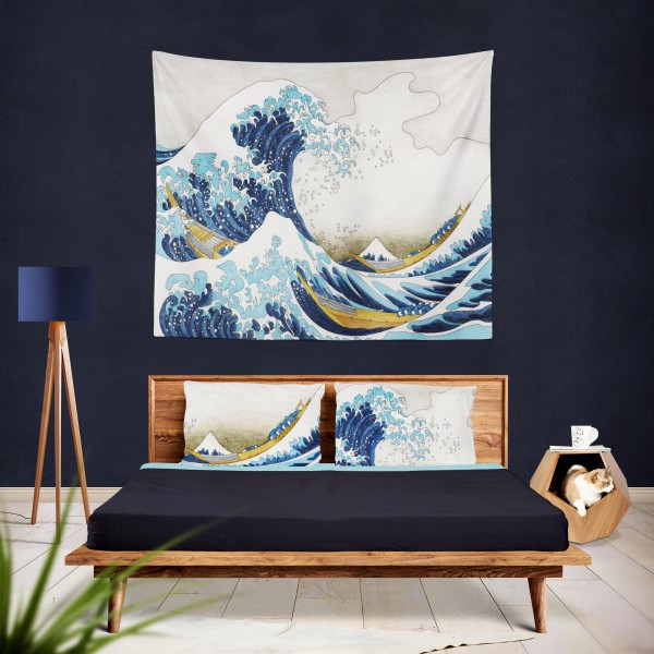 Marilyn Home Duvar Örtüsü 130x150 cm - The Great Wave of Kanagawa