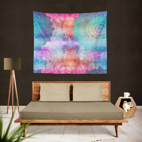 Marilyn Home Duvar Örtüsü 130x150 cm - Tribal Mandala Gökkuşağı