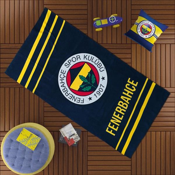 Taç Fenerbahçe Sarı Lacivert Logo Plaj Havlusu