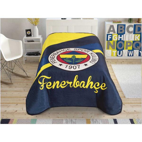 Taç Lisanslı Tek Kişilik Battaniye - Fenerbahçe Cross Logo