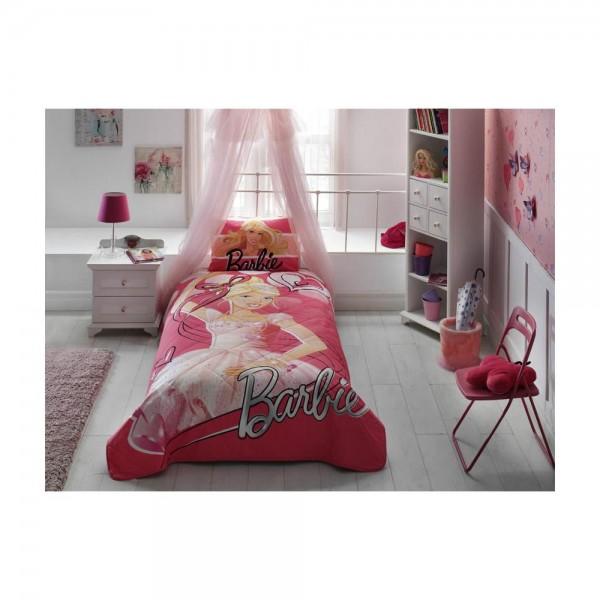 Taç Lisanslı Tek Kişilik Yatak Örtüsü - Barbie Ballerina