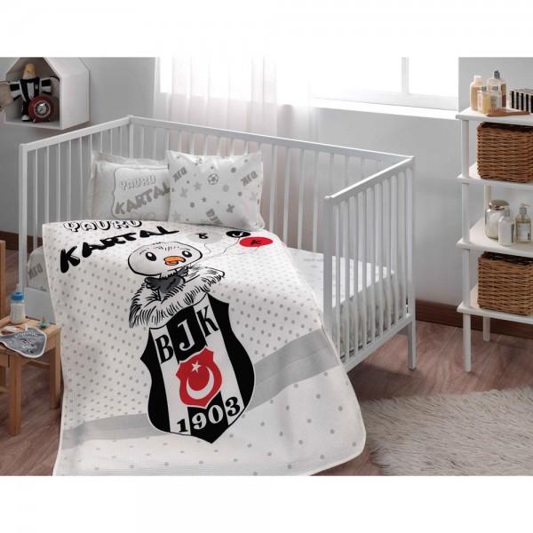 Taç Lisanslı Bebek Pike Takımı - Beşiktaş Kartal Baby