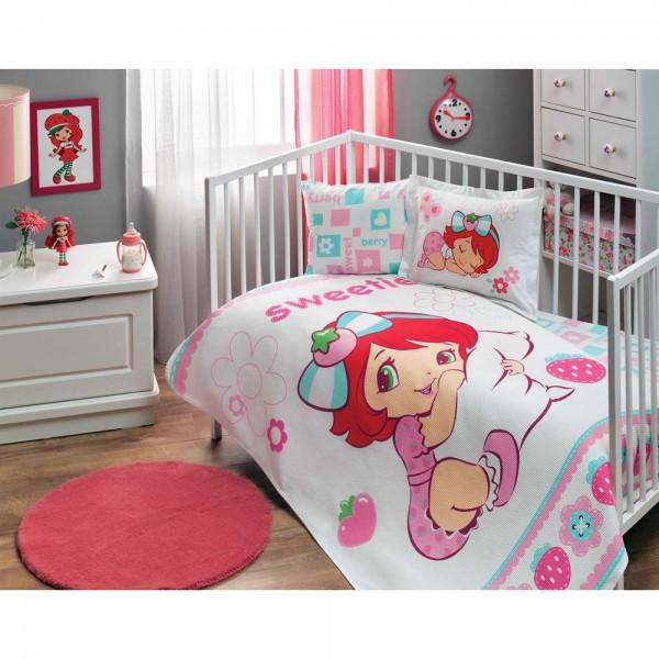 Taç Lisanslı Bebek Pike Takımı - Çilek Kız Sweet Baby