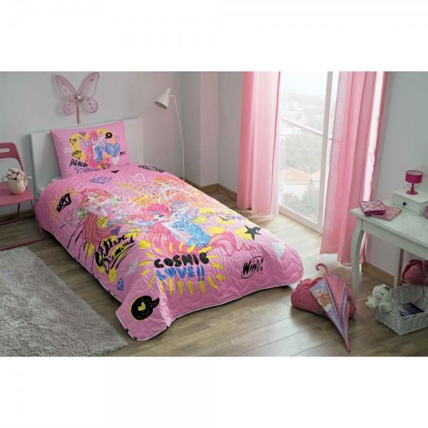 Taç Lisanslı Tek Kişilik Yatak Örtüsü - Winx Flower