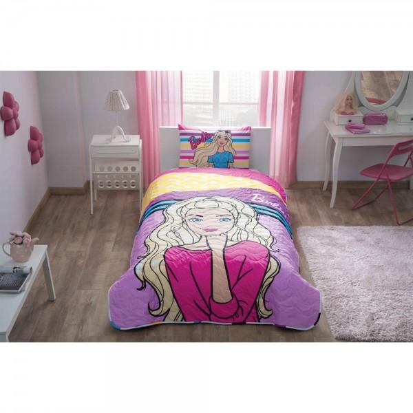 Taç Lisanslı Tek Kişilik Yatak Örtüsü - Barbie Dream