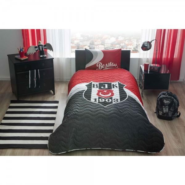 Taç Lisanslı Tek Kişilik Yatak Örtüsü - Beşiktaş Logo