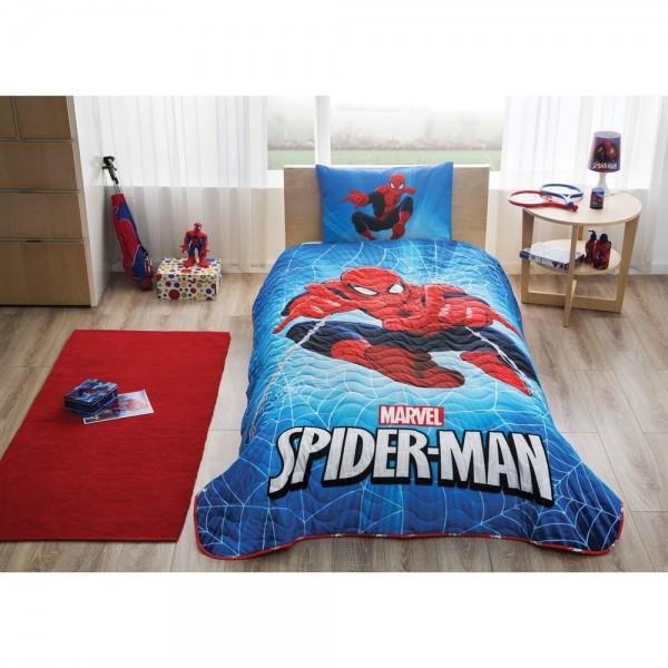 Taç Lisanslı Tek Kişilik Yatak Örtüsü - Spiderman Skyscape