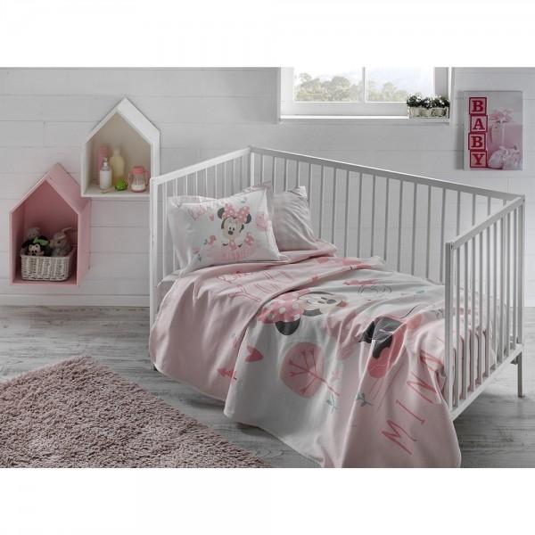 Taç Lisanslı Bebek Pike Takımı - Disney Minnie Pink Baby