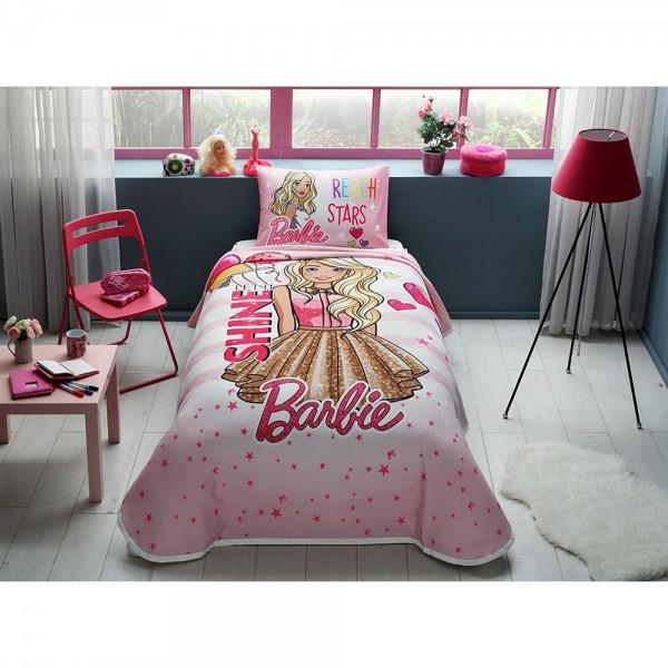 Taç Lisanslı Tek Kişilik Pike Takımı - Barbie Shine