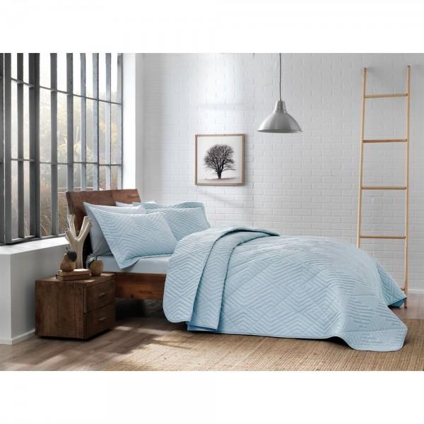Taç Tek Kişilik Nakışlı Yatak Örtüsü Mono Mavi