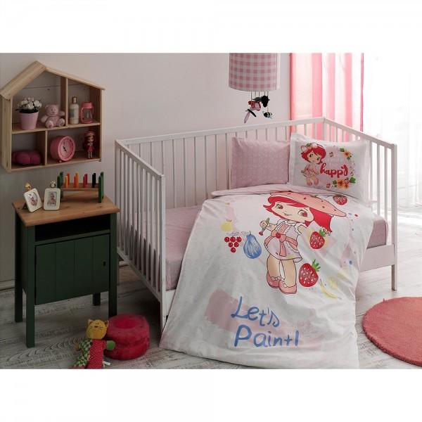 Taç Bebek Nevresim Takımı - Strawberry Shortcake Paint Baby