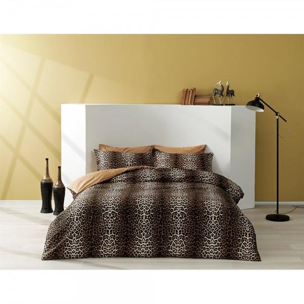Taç Saten Delux Çift Kişilik Nevresim Takımı - Leopard Kahve
