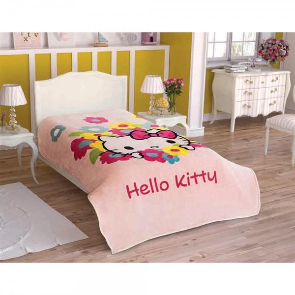 Taç Lisanslı Tek Kişilik Battaniye - Hello Kitty Flowers