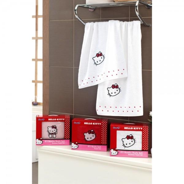 Hallo Kitty 2 Li Havlu Seti Beyaz