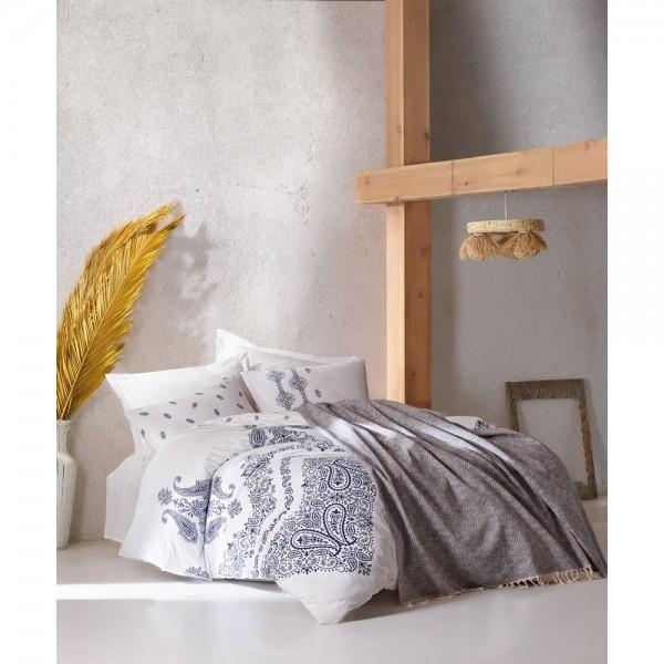Cotton Box Bohem Nevresim Takımı+Yatak Örtüsü - Adonis İndigo