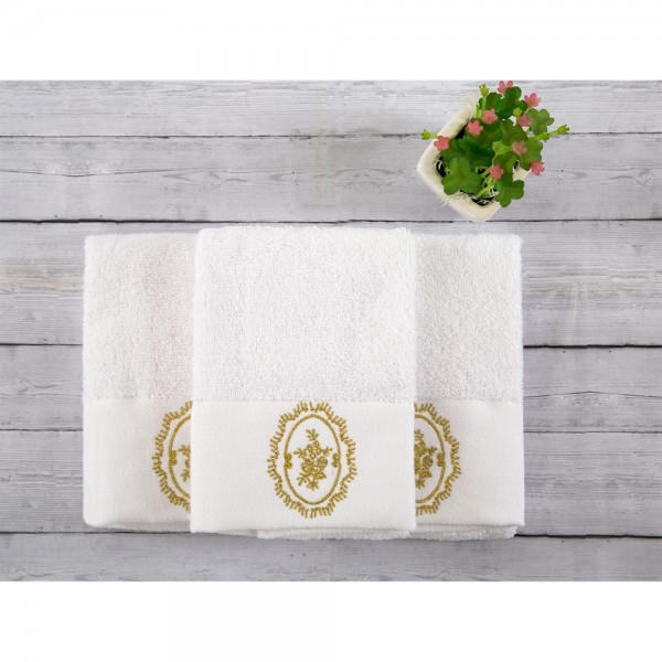 İrya CELINE Nakışlı Havlu Seti Beyaz 3 lü 30x50 cm