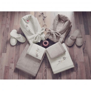 Cotton Box 3D Nakışlı Bambu Aile Bornoz Seti - Ekru Toprak