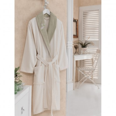 Cotton Box Daily Bayan Bornozu S/M - Ekru Yeşil