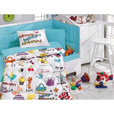 Cotton Box Ranforce Bebek Uyku Seti Mutlu Bebek Beyaz