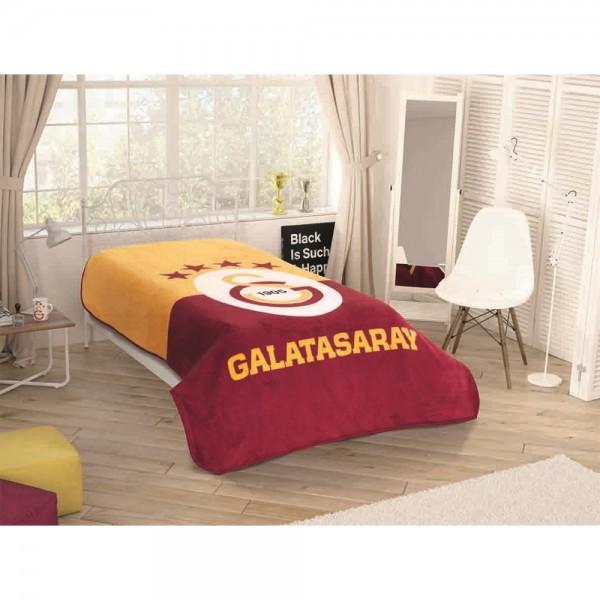 Taç Lisanslı Tek Kişilik Battaniye - Galatasaray Yıldızlı Logo
