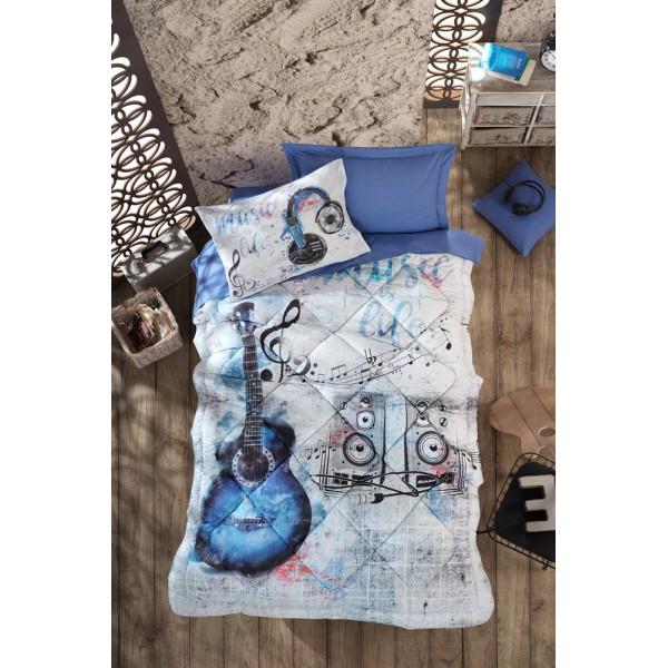 Cotton Box Ranforce Genç Tek Kişilik Uyku Seti - Guitar Mavi