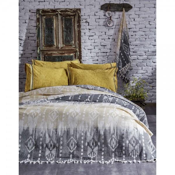 Ecocotton İkat Peştemal Yatak Örtüsü Antrasit - Sarı