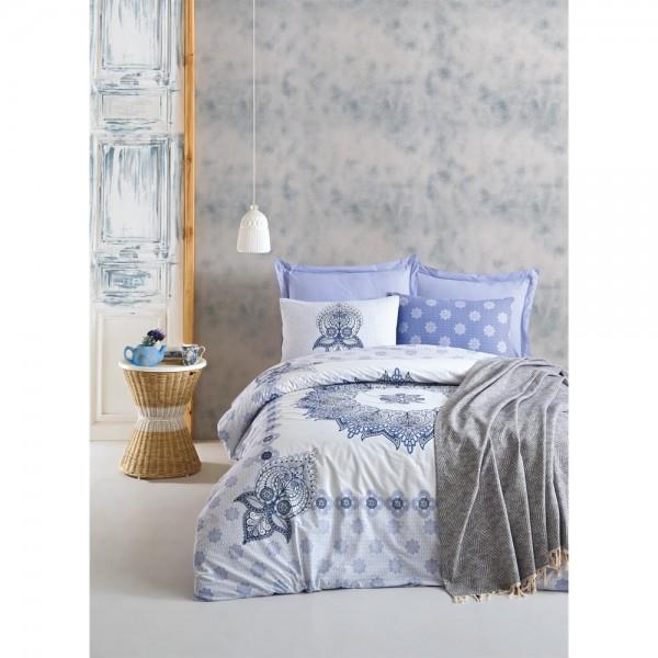 Cotton Box Bohem Nevresim Takımı+Yatak Örtüsü - Oleda Mavi