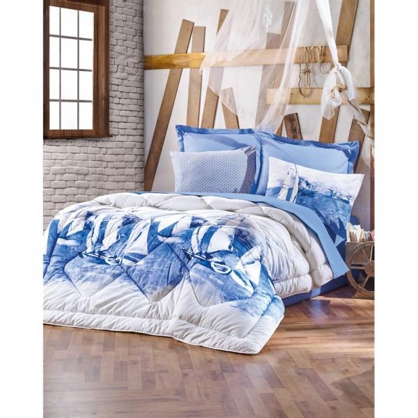 Cotton Box Maritime Çift Kişilik Ranforce Uyku Seti Pusla Mavi
