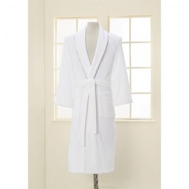 Soft Cotton Sharp Kutulu Bornoz - Beyaz XL Beden