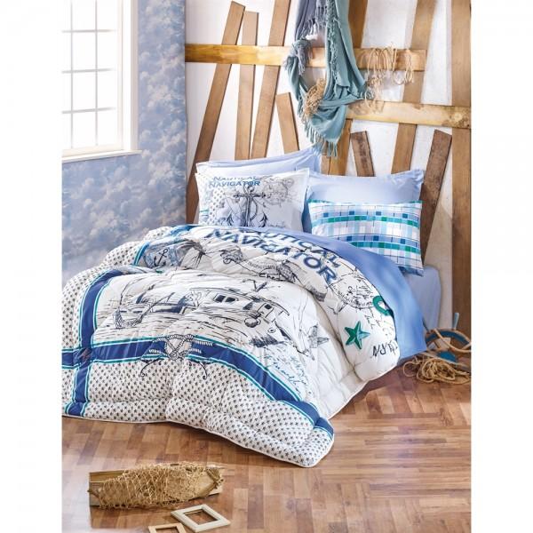 Cotton Box Maritime Çift Kişilik Ranforce Uyku Seti Vira Yeşil