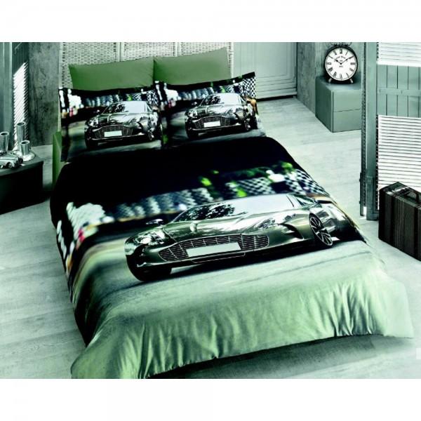 Virginia Secret Bambu 3d Nevresim Takımı Çift Kişilik-Car Grey